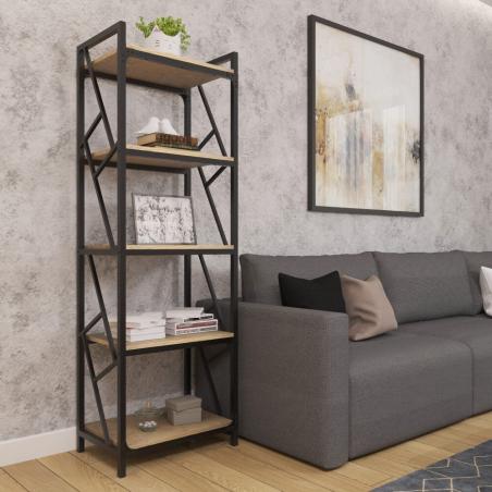 Стеллаж 5 полок Ромбо Черный Металл-Дизайн Loft