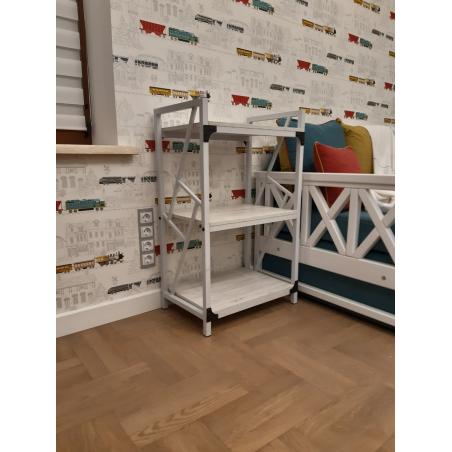 Стеллаж 3 полки Ромбо Белый Металл-Дизайн Loft