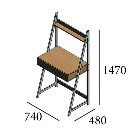 Габариты стола рабочего Дуо Металл-Дизайн Loft