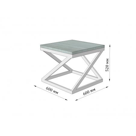 Габарити стола журнального Бент Металл-Дизайн Loft