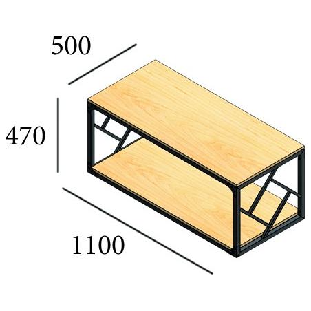 Габариты стола журнального Ромбо Металл-Дизайн Loft
