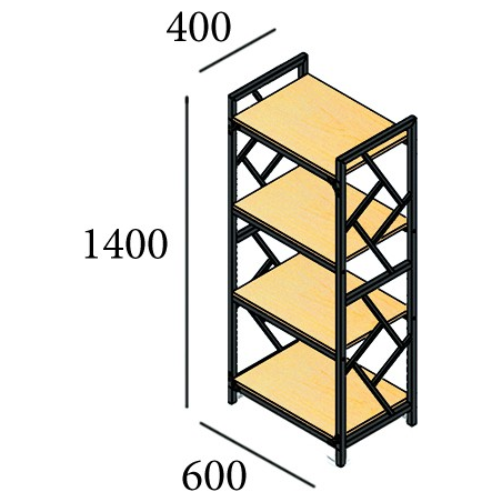 Габариты стеллажа 4 полки Ромбо Металл-Дизайн Loft