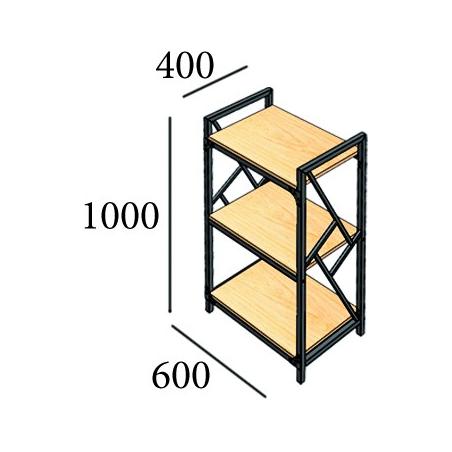 Габариты стеллажа на 3 полки Ромбо Металл-Дизайн Loft