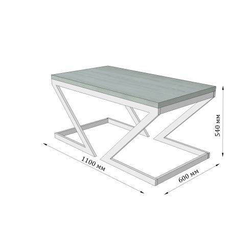 Габариты стола журнального Зетт Металл-Дизайн Loft