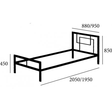 КВАДРО односпальне ліжко металеве лофт Метал-Дизайн Loft