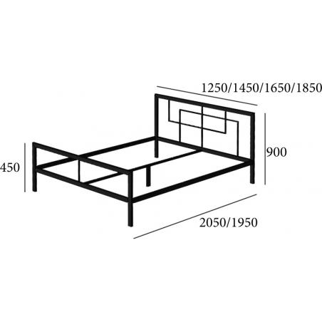 Схема кровати Квадро Металл-Дизайн Loft