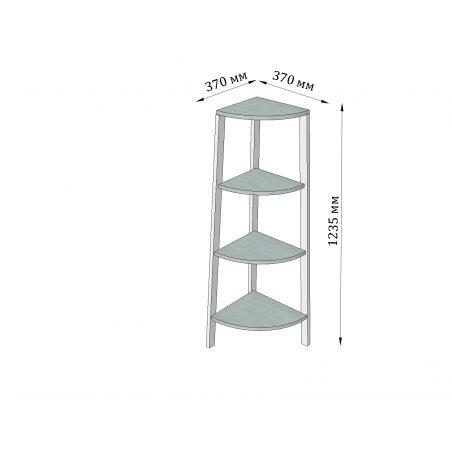 Габарити Кутового стелажа 4 полиці Призма Металл-Дизайн Loft