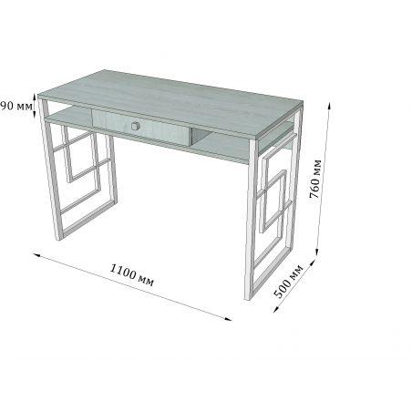 Габариты стола рабочего Квадро Металл-Дизайн Loft