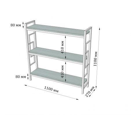Габариты стеллажа Лонг 3 полки Квадро Металл-Дизайн Loft