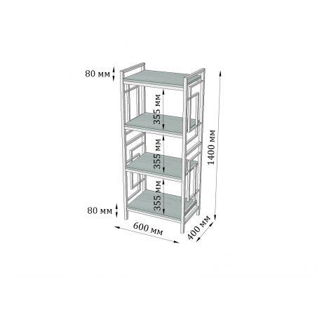 Габариты стеллажа 4 полки Квадро Металл-Дизайн Loft