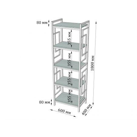 Габариты стеллажа 5 полок Квадро Металл-Дизайн Loft