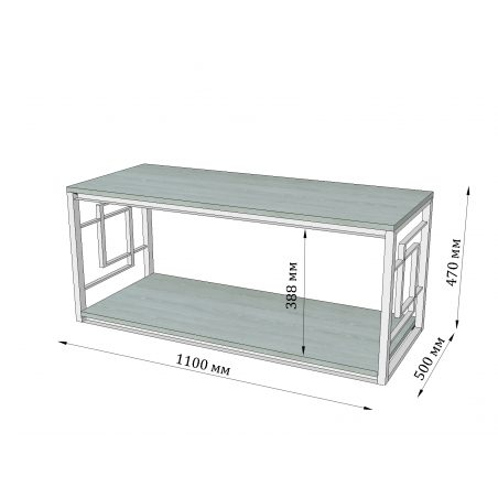 Габариты стола журнального Квадро Металл-Дизайн Loft