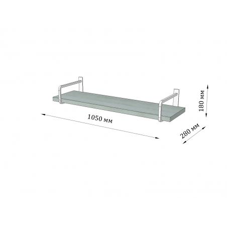 Габариты полки подвесной Квадро Металл-Дизайн Loft