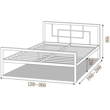 Габариты кровати Квадро Металл-Дизайн Loft