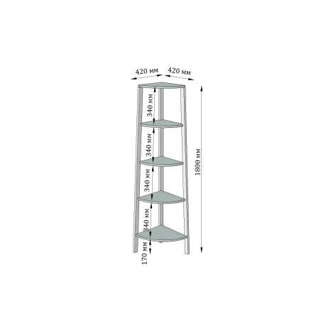 Габариты углового стеллажа 5 полок Призма Металл-Дизайн Loft