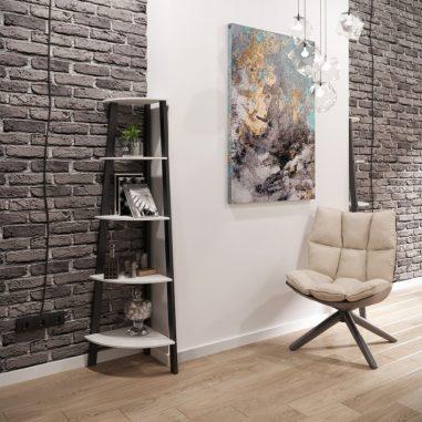 Угловой стеллаж 5 полок Призма Металл-Дизайн Loft