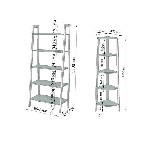 Габариты комплекта стеллажей на 5 полок Призма Металл-Дизайн Loft