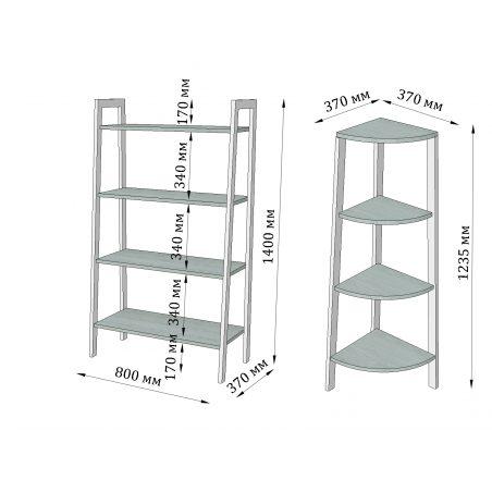 Габариты комплекта стеллажей на 4 полки Призма Металл-Дизайн Loft