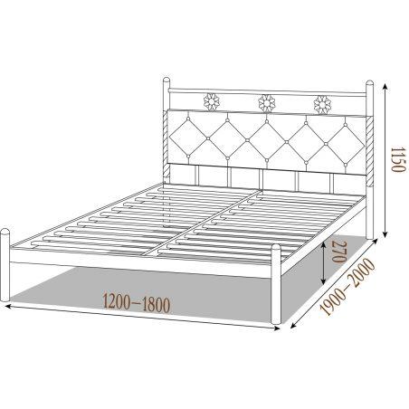 Габариты железной кровати БЕЛЛА (Bella) Металл-Дизайн