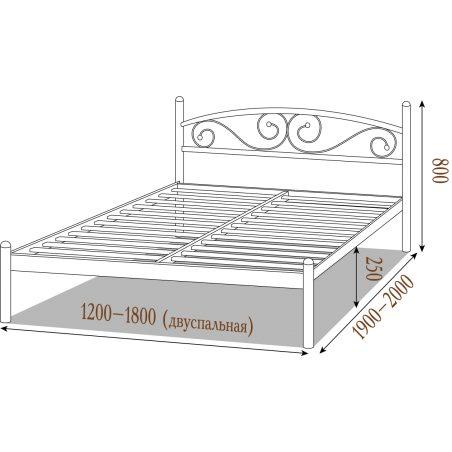 Габарити Металеве ліжко Вероніка Металл-Дизайн