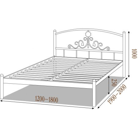 Металеве ліжко Кассандра Металл-Дизайн габарити