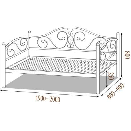 Металевий диван-ліжко Анжеліка Металл-Дизайн габарити