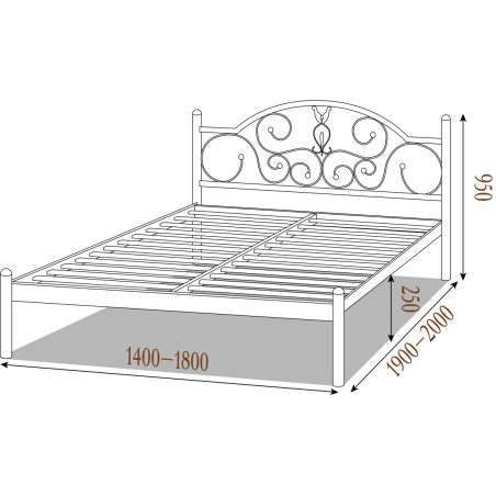 Габарити Металеве ліжко Анжеліка Металл-Дизайн
