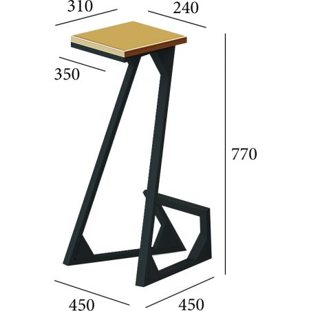 Габарити Стілець барний Зетт Металл-Дизайн Loft