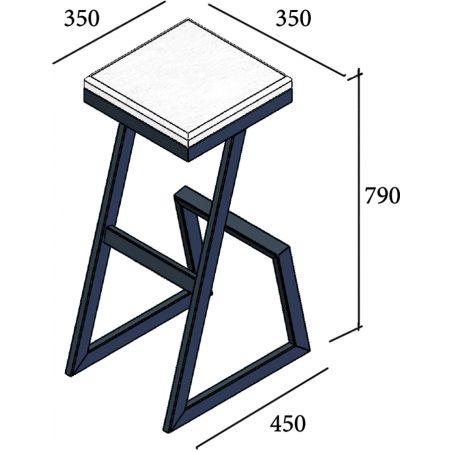 Габариты стула барного Сет Металл-Дизайн Loft